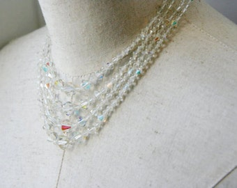 Vintage Aurora Borealis Crystal Multi Strand Necklace Layered Choker
