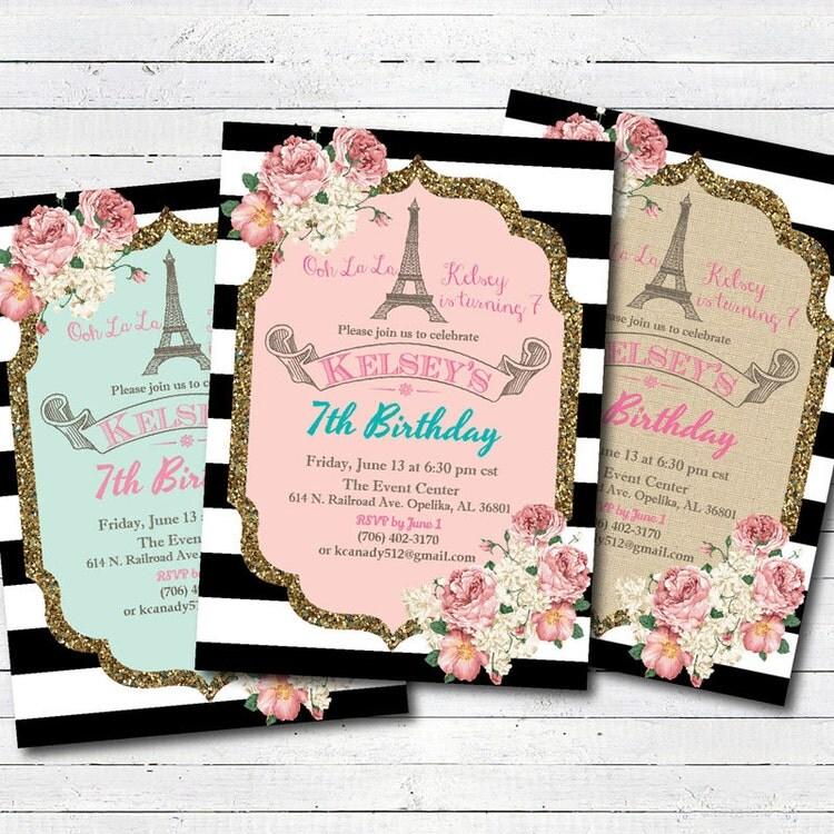Invitation d'anniversaire Tour Eiffel de Paris. par CrazyLime