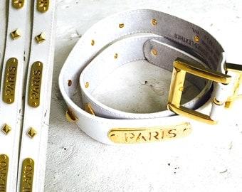 Culture Club White Leather Belt + Brass Paris Embellishment