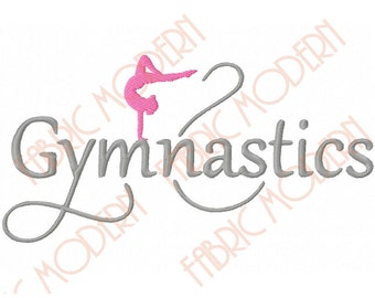 "GYMNASTICS Machine Embroidery Design,  fancy script ""Gymnastic"" with girl silhouette, multiple sizes , #469"