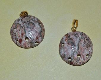 Vintage Genuine Leopardskin Jasper Sand dollar pendants.(1060178)