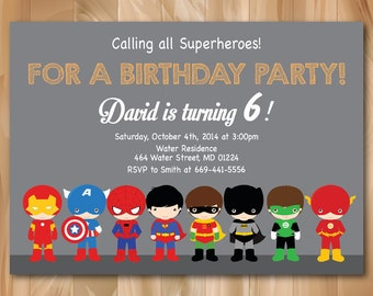 Superhero Birthday Invitation. Super hero Birthday Invitation. Boy Birthday Invite. Any Age. Printable Digial file. Custom.