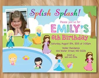 Princess Pool Party Invitation with Photo. Splash Girl Pool Birthday Party Invite. Swimming. Splash Party. Kids Birthday. Printable Digial