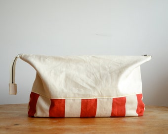 Patch Bag - Extra Large Striped Cotton Canvas Clutch Bag/Cosmetics Bag/Toiletries Bag/Sewing Kit Bag