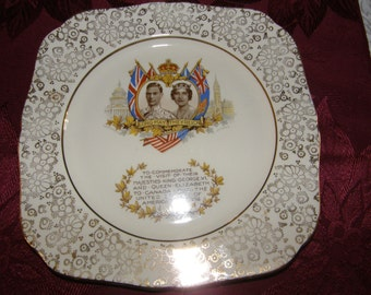 "Vintage HK Tunstall 9"" x 9"" Plate King George and Queen Elizabeth visit USA and Canada"