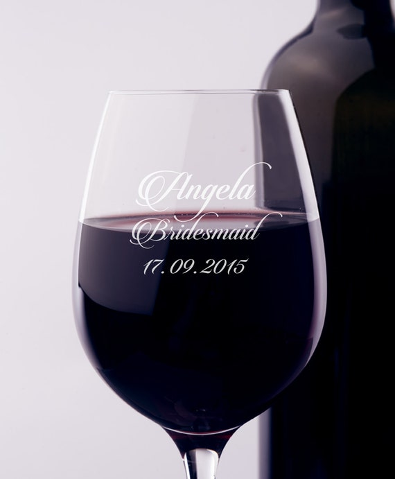 Engraved Wine Glasses For Wedding Gift : ... Wine Glass, Engraved Wine Glass, Gift for Bridesmaids, Wedding Wine