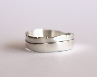 White 14k wedding band for a man, Asymmetric ring, Layered