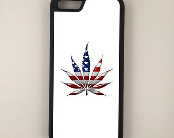"""American Weed Leaf USA iPhone 6 4.7"""" 6 Plus 5.5"""" Hybrid Rubber Protective Case"""
