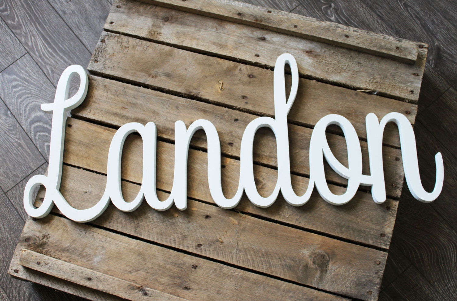 Landon Script Wooden Name Sign Stained Painted Nursery Name