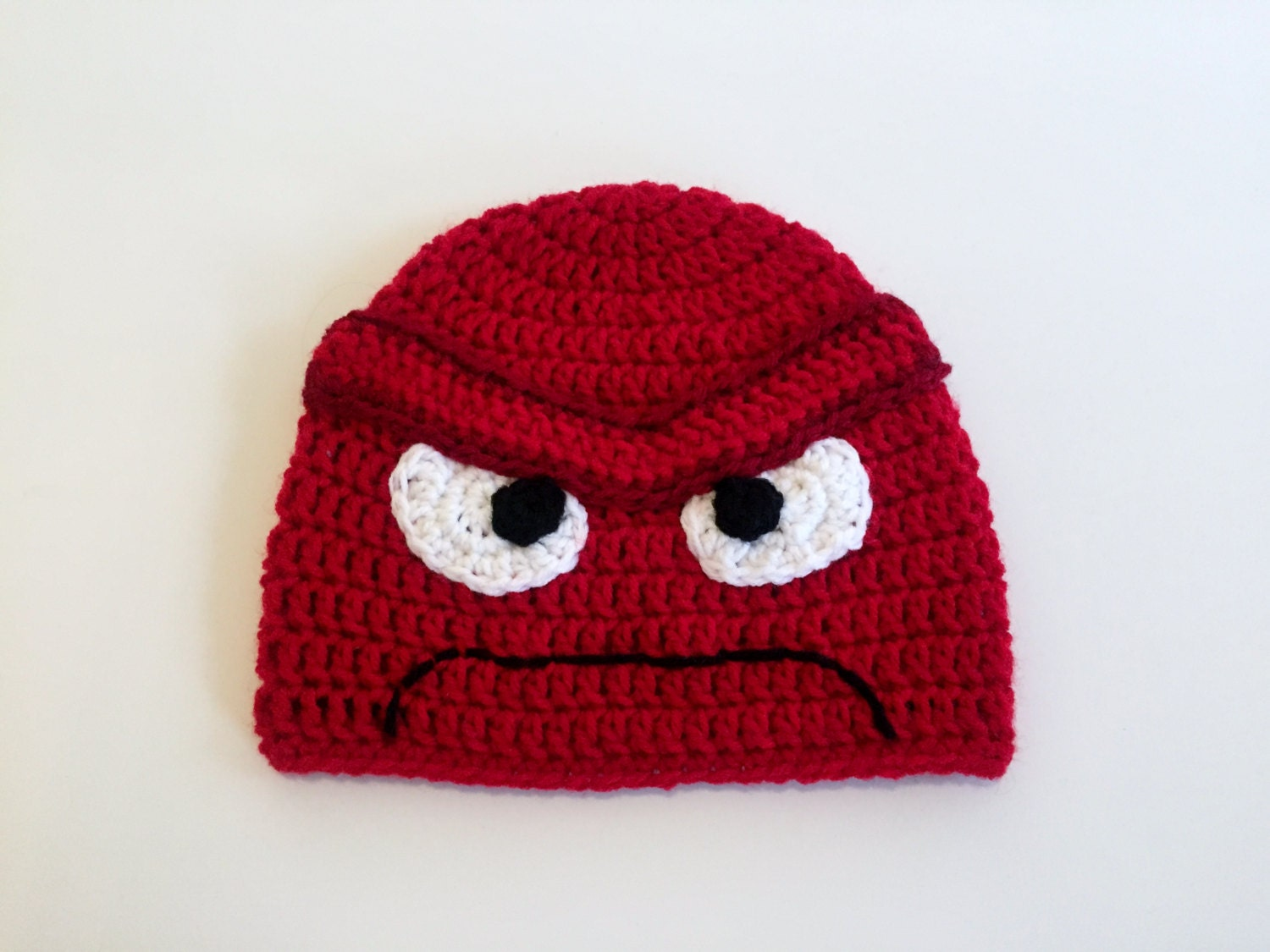 Free Crochet Hat Patterns For Halloween : Anger Hat Inside Out Beanie Crochet Halloween Costume All