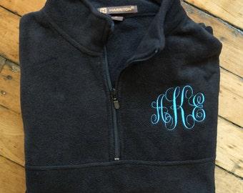 Monogram Sweatshirt // Monogram Pullover // Monogrammed Fleece Jacket, Monogram quarter zip, monogram fleece jacket, monogram vest jacket