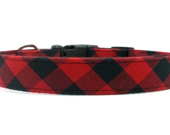 Red and Black Check/Checkered Dog Collar OR Matching Leash