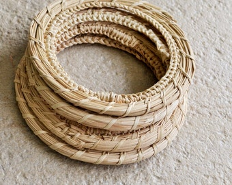 4 pcs ecofriendly handwoven straw bangle, sustainable jewellery, 60 - 62 mm internal diameter