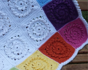 Rainbow Squares Crocheted Baby Afghan Ready to Ship FREE SHIPPING SALE