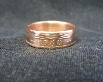 Handmade UK coin ring - 1960, size P 1/2 (US 8), (R323)