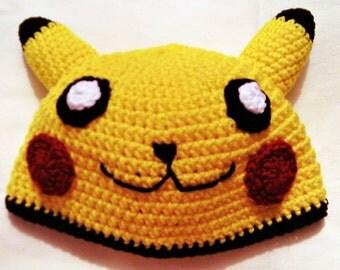 Crochet Pikachu Hat/Pokemon Hat/Anime/Cosplay/Kawaii/Character Hats/Fandom/Geekery/Nerd/Con Hats/Mouse Hat/Kids Accessories/Cartoon Hats