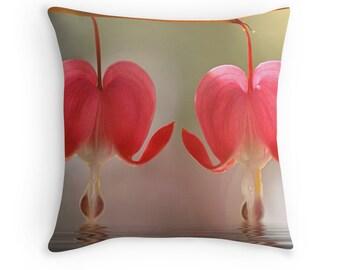 Flower Cushions, Romantic Gift, Floral Cushion, Bleeding Hearts, Flower Throw Pillow, Pink Decor, Flower Decor, Pink Decor, Valentines Gift