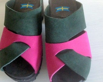 Vintage Scandinavia/Swedish wooden clogs from the 80s in suede