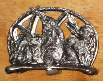 3 Bunny Rabbit in the Garden Napkin Holder Business Card Holder Display - Pewter - Made By Metzke USA
