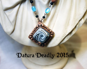 Earthy Wave Copper and Blue Polymer clay necklace