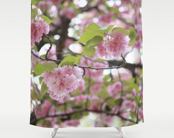 Shower Curtain, Cherry Blossom, Pink Shower Curtain, Central Park, New York City Decor, Girls Bathroom Decor, Floral, 71x74, 71x94, Pink