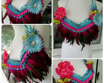 Rave Bra Bright Feathered Top 34B