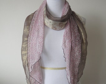 Flower Lace Scarf Combined with Leopard Print Scarf Pink Color