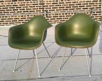 Rare Herman Miller Charles Eames Vintage Fiberglass Arm Chairs (Pair)