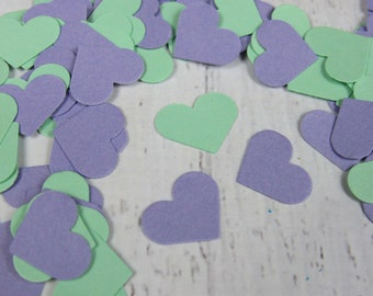 500 Purple Heart Table Scatter - Lavender and Mint Heart Confetti - Mint and Lavender Wedding Table Scatter