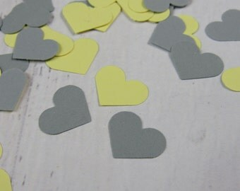 500 Pale Yellow Gray Heart Confetti - Yellow Paper Hearts - Yellow Wedding Decor