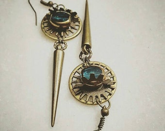 Steampunk earrings, Egyptian, Vintage Brass Gears