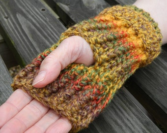 Handmade Woollen Fingerless Mittens in Autumn Colours Chunky Weight Wool