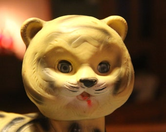 Vintage Rubber Tiger Toy 1960s- Put a tiger in your tank - a must for everyones toy collection