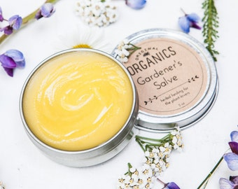 Replenishing  GARDEN SALVE- 2 oz tin // Made with 3 Organic, Handcrafted Herb-Infused Oils: Lavender, Calendula, + Comfrey