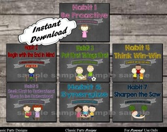 7 Habits Posters for Leader in Me Schools Chalkboard Theme - Digital Printable File - INSTANT DOWNLOAD