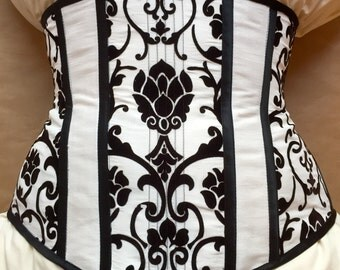 Black and White Brocade Underbust Corset
