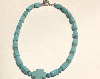 Turquoise Necklace with Cross - OOAK