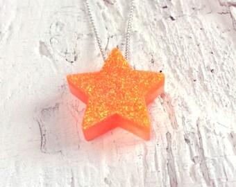 Neon Orange Star Pendant