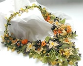 Freeform Seed Bead Necklace With Flowers-OOAK Beaded Necklace With Quartz And Jasper-Beadwoven Freeform Necklace