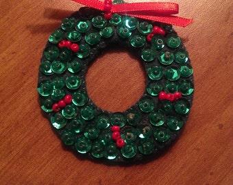 Vintage Handmade Felt And Sequin Christmas Wreath Brooch