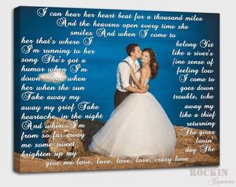 First Dance Lyrics on Photo, Wedding Gift First Dance Lyrics, Wedding Gift Use Vows and Lyrics Word ArtCanvas Art Gift, Photos love letters