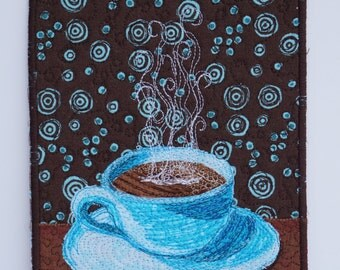 Fabric Postcard Coffee, Coffee Card, Quilted Postcard, Handmade Card, Coffee Cup, Mini Art Quilt,  Fabric Collage, Blue Brown, Coffee Art