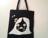 Crying Girl tote bag - white on black - limited edition