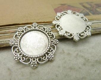 10pcs Antique silver 15mm base, flower bezel cup cabochon Mountings Pendant Trays Wholesale bC7667