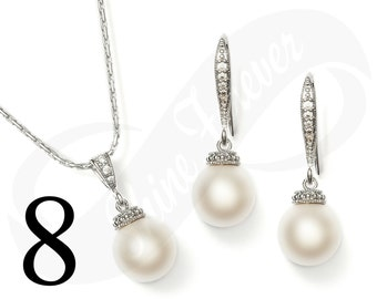 Set of 8 Bridesmaid Jewelry Set Bridal Jewlery Set Bridal Pearl Bridesmaid Jewelry Set Bridal Jewlery Set Bridesmaid Jewelry Set Pearl Set