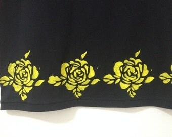 Floral skirt - Women's black skirt - Printed skirt - Midi skirt - Flower skirt - Handmade skirt - Original skirt - Skaters skirts -Cut up