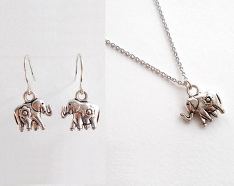 Silver Elephant Jewellery Gift Set - Small Earrings & Dainty Necklace - Minimal Thin Silver Necklace -  Simple Cute Everyday Dangle Earrings