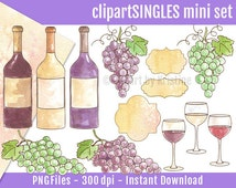 Clipart Watercolor Wine, Vineyard, Grapes, Wine Bottles Glasses, Hand Painted Watercolors