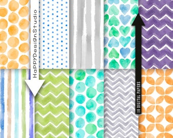 Watercolor digital paper pack, hand painted watercolour pattern background halloween colors stripe chevron dot backdrop papers