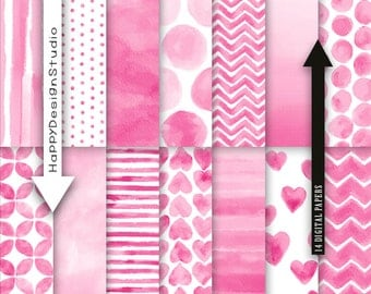 Pink watercolor digital paper pack instant download baby shower invitation wedding party printable supplies card design it's a girl girly